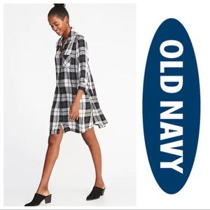 NWT Old Navy Plaid Swing Shirt Dress